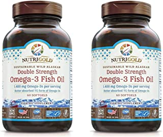 NutriGold Double Strength Omega-3 Gold 70% Omega-3s in Bioavailable Triglyceride Form (60 Softgels) Pack of 2