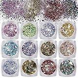 Purpurinas Polvo 12 Colores Chunky Glitter Paillette Brillante Decoración para Cara Maquillaje Pelo Arte Corporal Uñas y Mejilla
