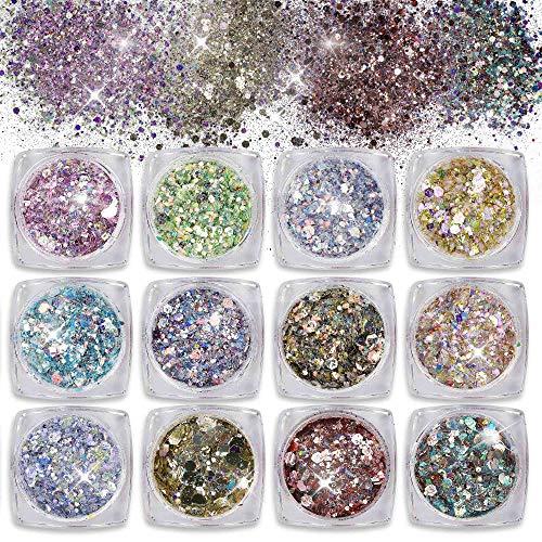 Purpurinas Polvo 12 Colores Chunky Glitter Paillette Brillante Decoración para Cara Maquillaje...