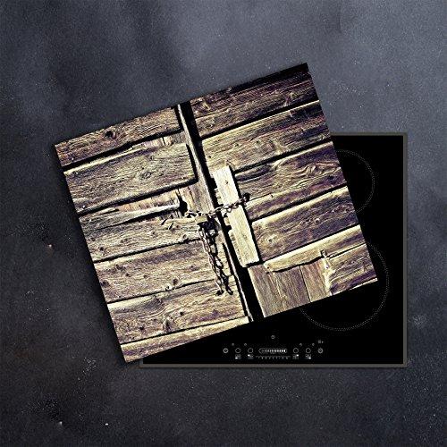 DAMU | Ceranfeldabdeckung 1 Teilig 60x52 cm Herdabdeckplatten Abstrakt grau Holz Elektroherd Induktion Herdschutz Spritzschutz Glasplatte Schneidebrett