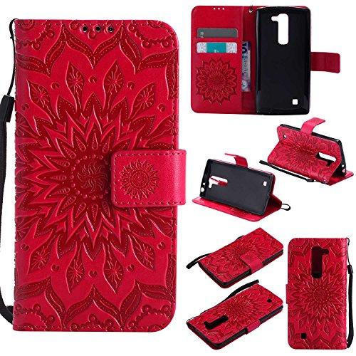 pinlu® PU Leder Tasche Etui Schutzhülle für LG G4c(5zoll)/LG Magna Lederhülle Schale Flip Cover Tasche mit Standfunktion Sonnenblume Muster Hülle (Rot)