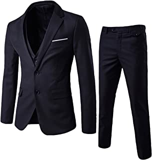 Mens Suits 3 Piece Reguler Slim Fit Wedding Tuexedo Suit for Men Business Casual Wedding Suits Jacket Blazer Waistcoat Tro...