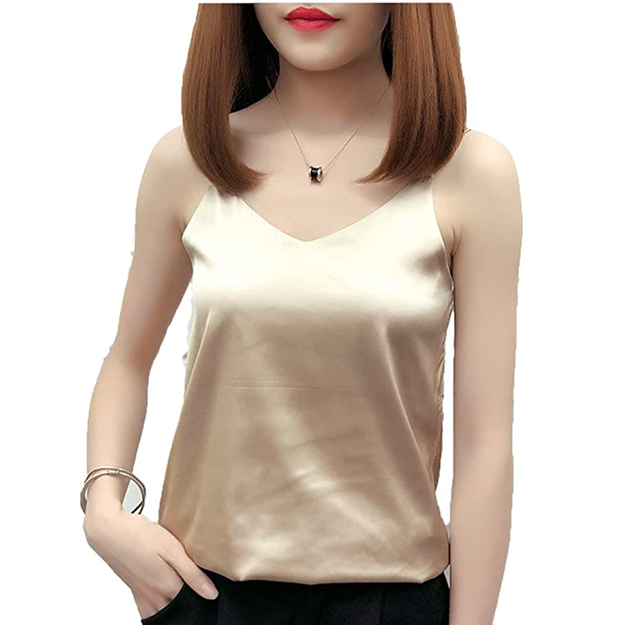 HSBUY Classic Women's Simple Silk Lace Top Lady Sleeveless Satin Blouse Tops Female Silk Camisole Tank Tops