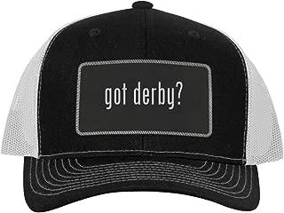 One Legging it Around got Derby? - Leather Black Metallic Patch Engraved Trucker Hat