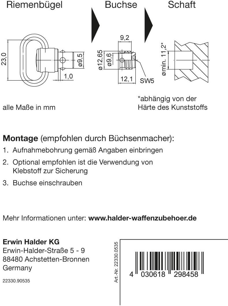 Buchsen-Set f/ür PUSH /& GO Riemenb/ügel 9,6x1,0