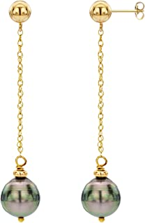 14k Yellow Gold 8-10mm Black Baroque Tahitian Pearl Stud Dangle Earrings.