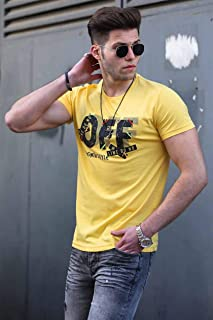 Madmext Baskılı Sarı Erkek Tişört 4470
