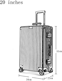 WHPSTZ Trolley Case New Universal Wheel Luggage Reinforcement Aluminum Frame Retro Trolley Case Aluminum Frame Pc Suitcase Trolley case (Color : Silver, Size : 20 inches)