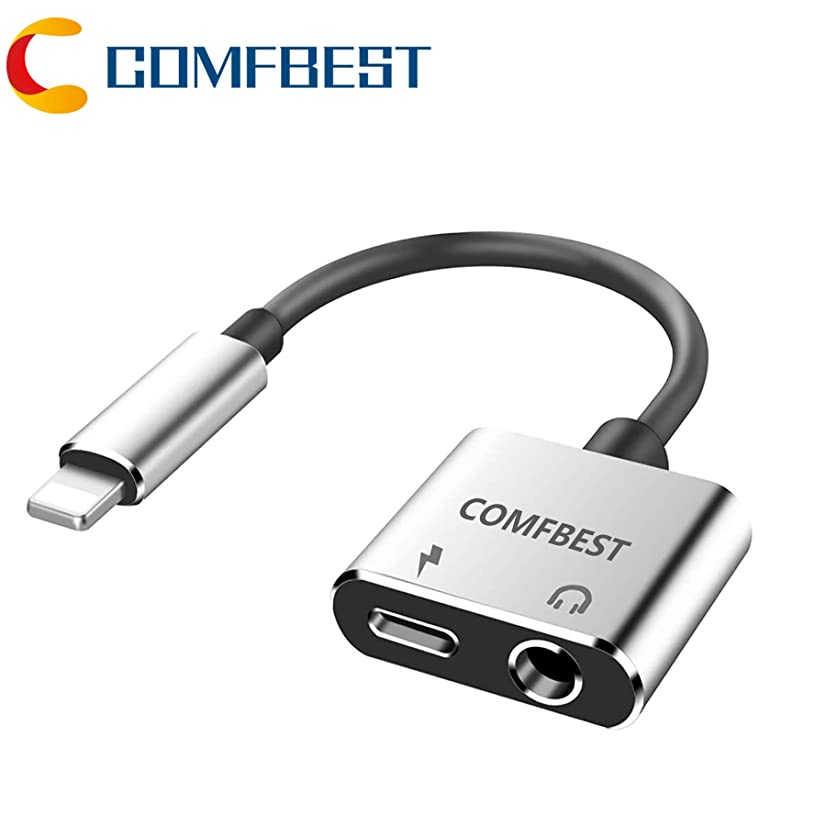 COMFBEST Headphone Jack Adapter Charger AUX Audio 3.5 mm Jack Adapter 2 in 1 Earphone Audio Jack Cable