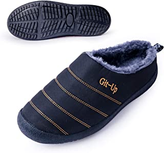 Git-up Womens Winter Warm Fur Indoor Slippers Anti-Slip Comfortable Waterproof Men's Outdoor Machine Washable Cushioning Shoes