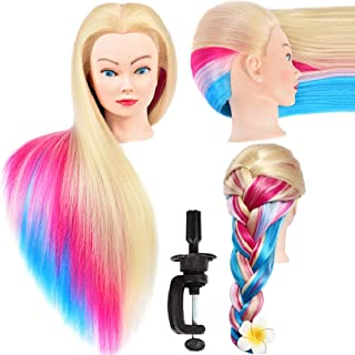 Mannequin Head with Long Synthetic Fiber Colorful Hair Styling Training Head 26-28inch Manikin Cosmetology Doll Head Haird...