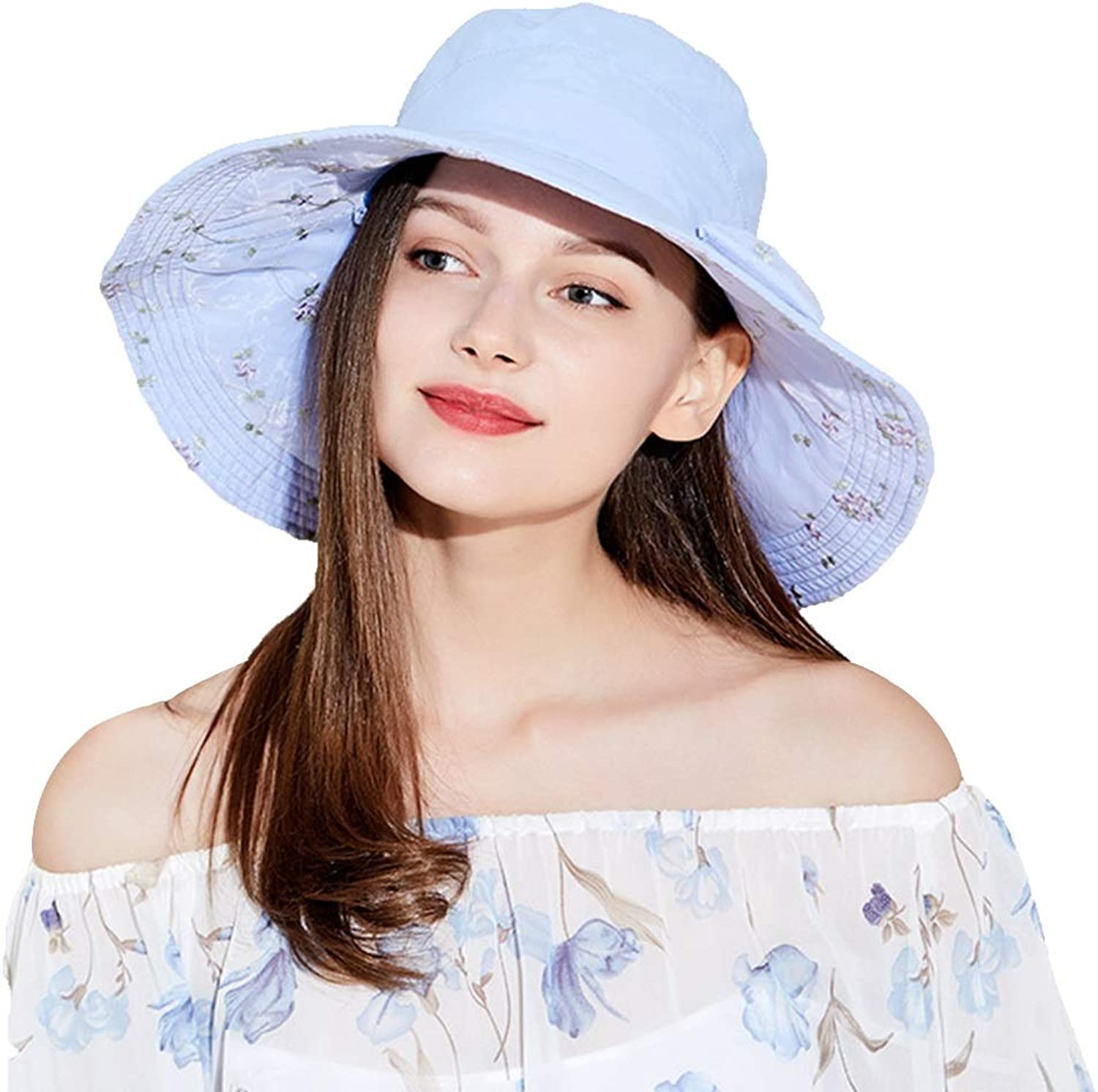 Hats Sun Visor Cool UV Predection Sun Visor Ladies Foldable Big Outdoor Electric Car Sun Quick Dry Sun Windproof Rope (color   Sky bluee, Size   57.5cm)