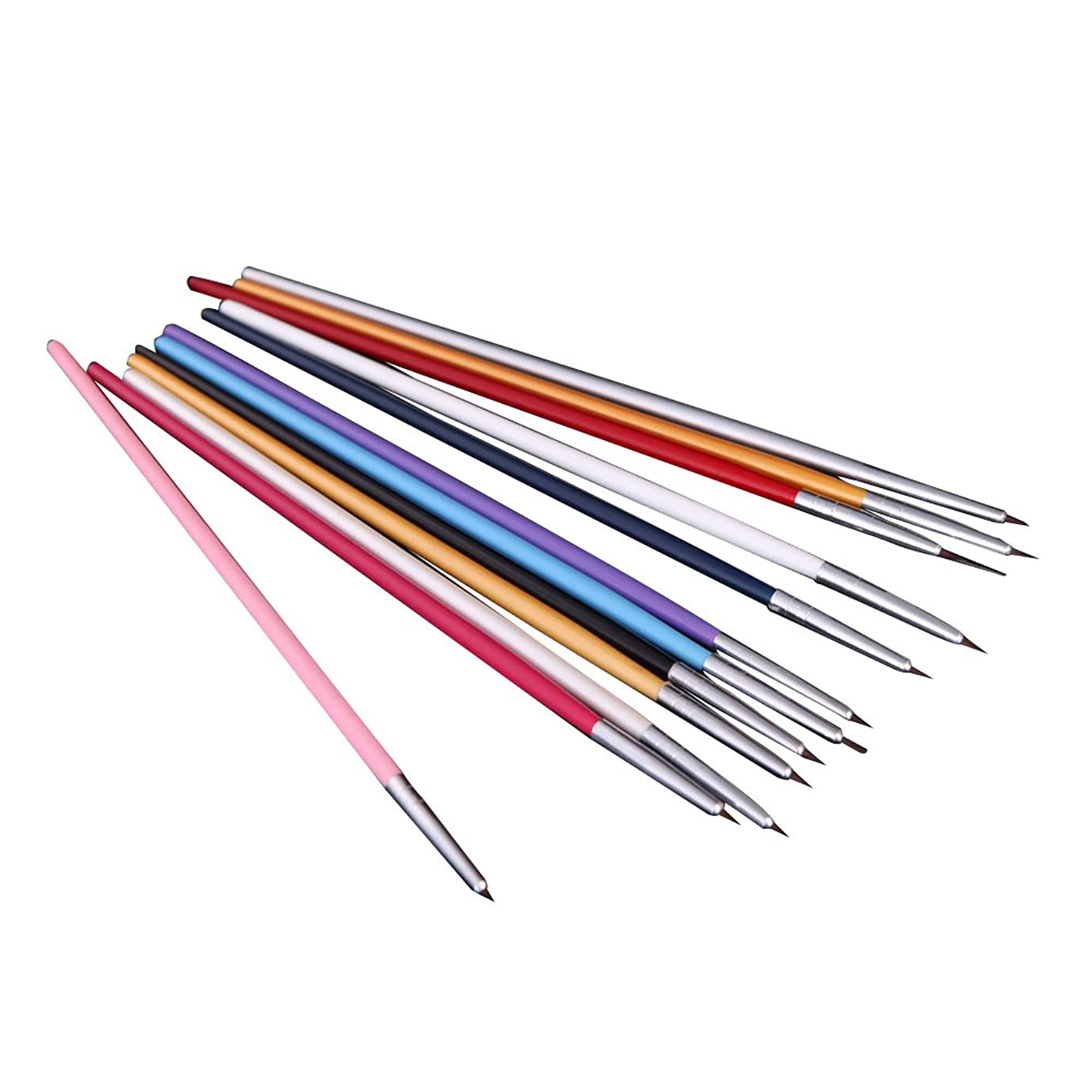 ソーダ水時計爪RETYLY 12xペンとブラシ ネイルアートのため 研磨ネイルペインティングDIY 専門ツール