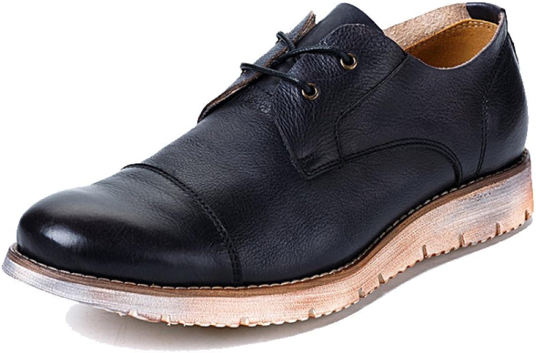 ZPJSZ herrar skor Lace Andable Casual Casual Casual läder skor Low Cut Vintage, svart -38  snabba svar