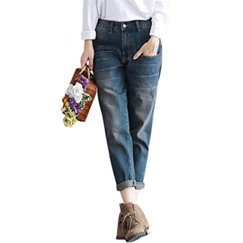 f10906c501e8 Yeokou Women s Casual Loose Distressed Baggy Harem Denim Jeans Cropped Pants