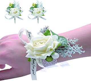Prom Wrist Corsage,Wedding Bridal Bridesmaid Wrist Flower Wedding Event Party Wristband Bracelet Set of 2 (White)