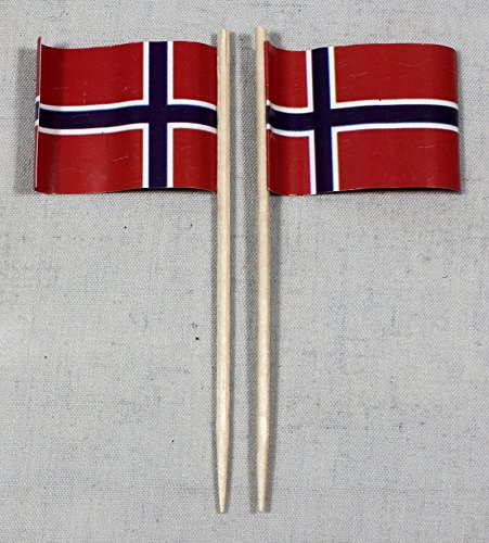 Buddel-Bini Party-Picker Flagge Norwegen Papierfähnchen in Profiqualität 50 Stück 8 cm Offsetdruck Riesenauswahl aus eigener Herstellung