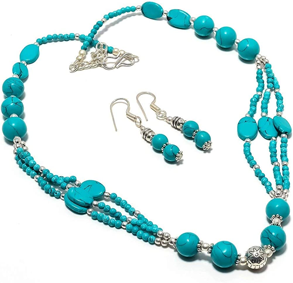 Fabulous Blue Tibetian Turquoise Beaded Necklace Exotic Sale item Earr and Sale Special Price