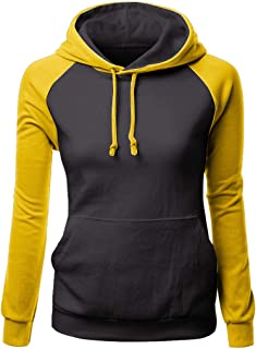Women's Color Block Lightweight Long Sleeve Pullover Hoodie LIM&Shop Hoodies-Tops Drawstring Sweatshirt with Pocket