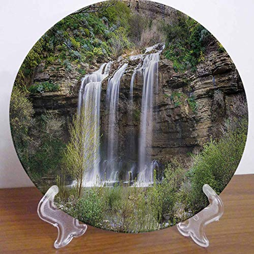 LCGGDB 6 Inch Nature Pattern Ceramic Decorative Plate,Waterfall Forest Sicily Dinner Plate Decor Accessory for Dining, Parties, Wedding