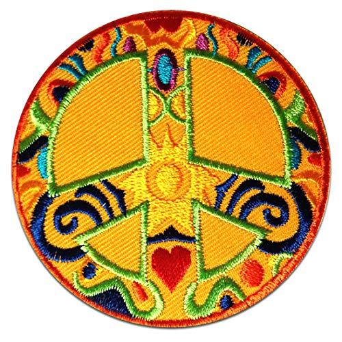 Aufnäher/Bügelbild - Peace Frieden gelb Ø7,5 cm - Patch Aufbügler Applikationen zum aufbügeln Applikation Patches Flicken