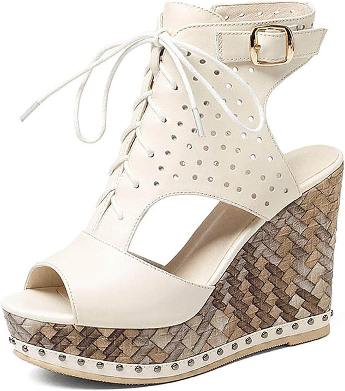 Women Platform Full Grain Leather Sandals Summer Ladies Wedges shoes Slingback Side Zip Peep Toe Lace Buckle