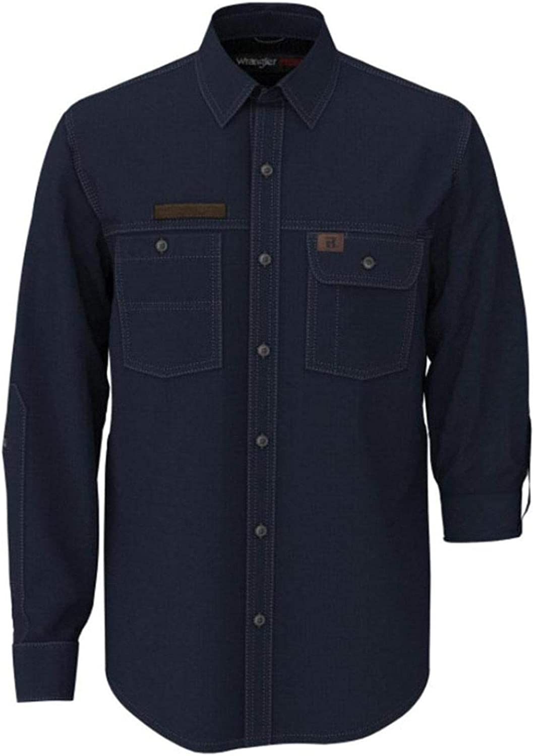 Wrangler Men's Riggs Solid Navy Vented Long Sleeve Button-Down Work Shirt Tall Navy Large Tall