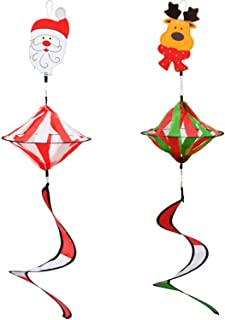 Alpurple 2 PCS 35 Inch Christmas Wind Spinner Twister Decoration -Xmas Hanging Curlie Spinner with Spiral Curlie Tail for ...