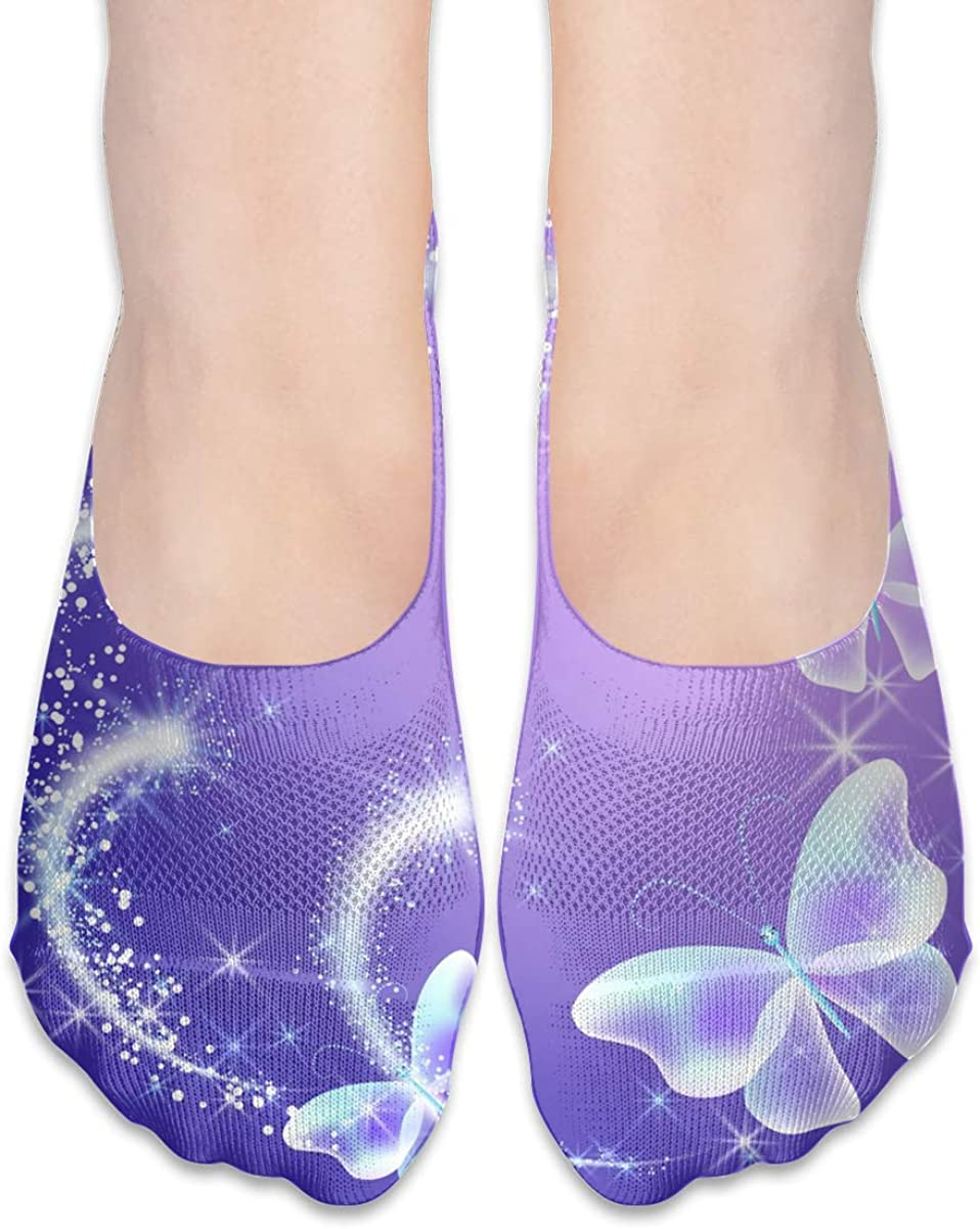 No Show Socks Women Men For Butterfly Firework Sparkle Stars Flats Cotton Ultra Low Cut Liner Socks Non Slip