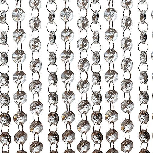 33 Feet Hanging Clear 14mm Daimond Acrylic Crystal Garland Chandelier Bead Lamp Chain Christmas product image