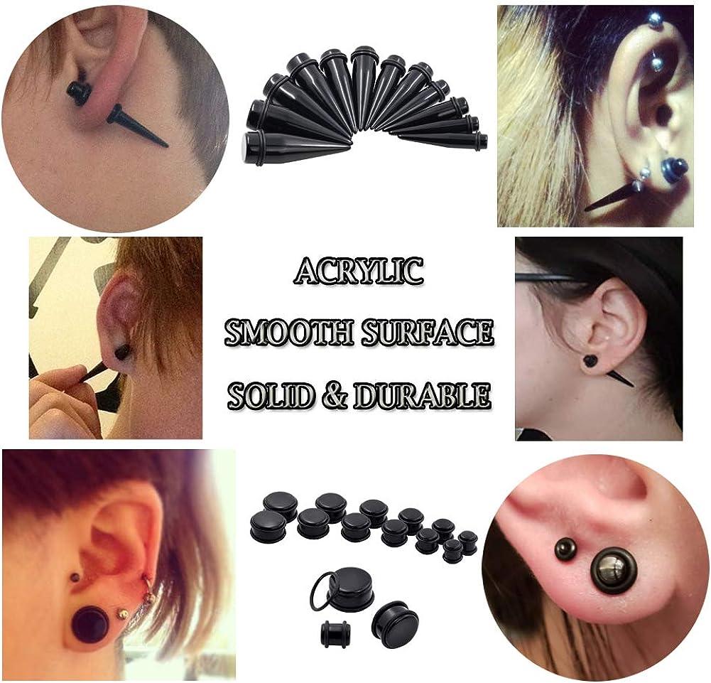 "14G-00G 00G-3//4/"" Acrylic Ear Gauges Stretching Kit Crescent Shaped Spiral Buffalo Taper Plug Set"