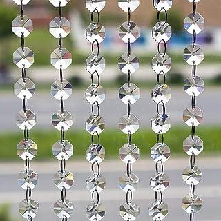10本 八角珠ビーズカーテン クリスタル 珠のれん 装飾 DIY ドア/入り口/玄関/窓/ウェディング/パーティー (10x1M, クリア)