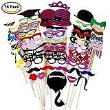 Foonii Lot de 76Accessoires colorés, Lunettes, Moustaches, lèvres, nœuds Papillon, Chapeaux sur bâtons pour Mariages, fête de Noël, Anniversaires