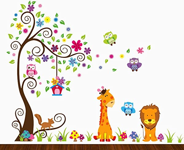 DEKOSH Kids Jungle Theme Peel And Stick Wall Decal Colorful Owl Giraffe Lion Tree Decorative Unisex Sticker For Children Bedroom Nursery Playroom Mural