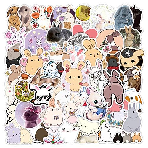 Aufkleber | 50 Stück | Vinyl-Aufkleber für Laptop, Skateboard, Wasserflaschen, Computer, Telefon, Gitarre, Aufkleber für Kinder und Erwachsene (Kaninchen)