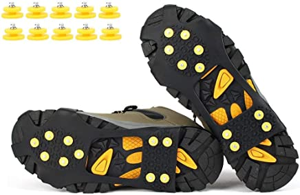 fcaf30ed68 VICWARM Glace Traction Crampons Antidérapant sur Chaussures/bottes 10 clous  à neige Grips Crampons Crampons