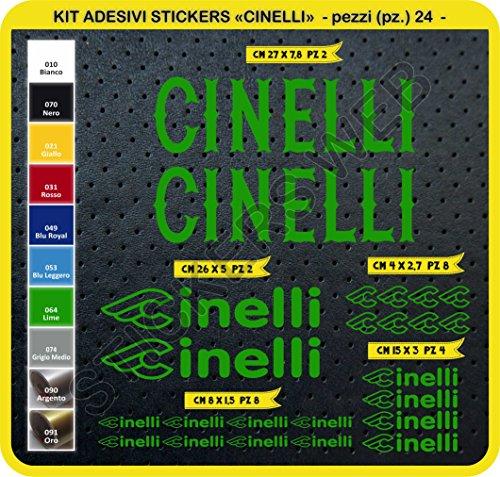 Aufkleber Fahrrad Cinelli Kit Aufkleber Stickers 24Stück–bici Bike Cycle wählbar Cod.0091, Verde Lime cod. 064