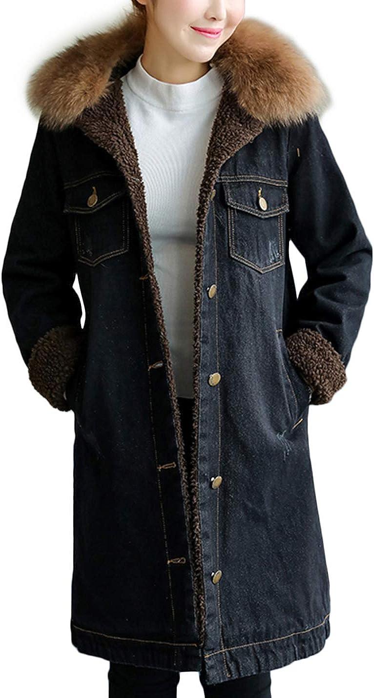 Lentta Women's Loose Removable Faux Fur Collar Fully Sherpa Lined Denim Jacket