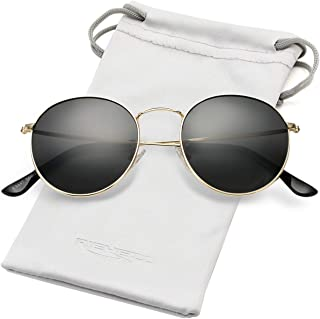 Polarized Sunglasses for Men Women Vintage Round Metal Sun Glasses 100% UV400 Protection