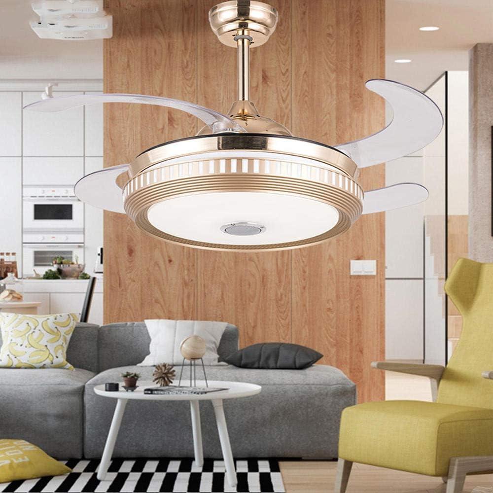 Ventiladores de techo de música retro Aplicación inteligente Lámpara led invisible Luz de techo de audio Bluetooth con control remoto Lámpara de restaurante Lámpara de ventilador para el hogar