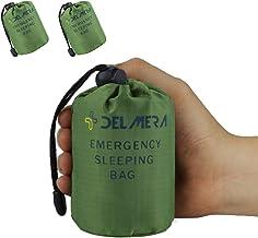 Delmera Emergency Sleeping Bag, Lightweight Survival Sleeping Bags Waterproof Thermal Emergency Blanket, Bivy Sack Survival Gear for Outdoor Adventure, Camping, Hiking, Orange, Green