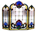 "Chloe Lighting CH1F201BV40-GFS 3 Piece Tiffany-Glass Folding Victorian Fireplace Screen, 40"""