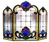 Chloe Lighting CH1F201BV40-GFS 3 Piece Tiffany-Glass Folding Victorian Fireplace Screen, 40'