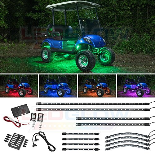 LEDGlow 12pc Million Color LED Golf Cart Underglow Accent Neon Lighting Kit with Wheel Well & Interior Lights for EZGO Yamaha Club Car - Fits Electric & Gas Golf Carts - Water Resistant