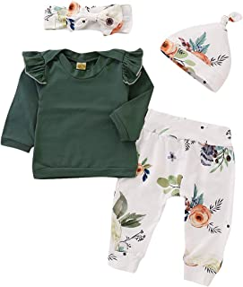 AILENFEISO Newborn Baby Little Sister Girl Outfit Ruffle Sleeve Shirt Tops+Floral Legging Pant+Headband+Hat Summer Clothes Set