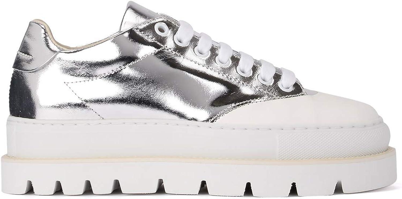 MM6 Maison Margiela Woman's Sneaker in Pelle Laminata silver 40(EU) - 10(US) Silver