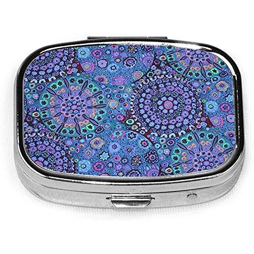 Kaffe Fassett Millefiore Blau Benutzerdefinierte Personalisierte Platz Pillendose Dekorative Box Vitaminbehälter Tasche Oder Brieftasche