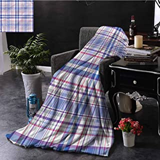 SSKJTC Checkered Beach Throw Blanket Country Style Soft Dorm Bed Baby Cot Traveling Picnic W50 xL60