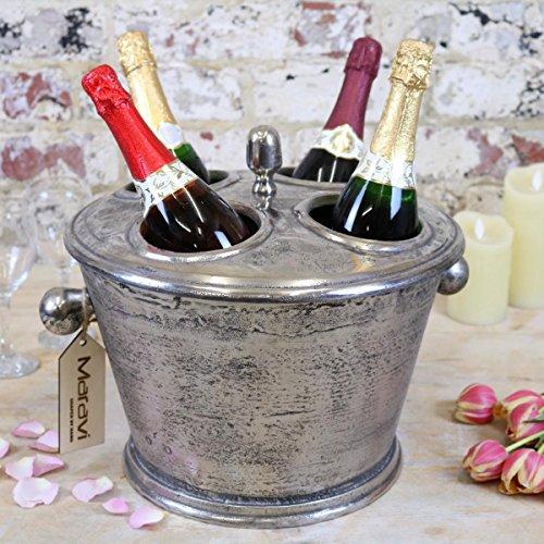 Abi Gamin stile vintage champagne secchiello per il ghiaccio 4portabottiglie con coperchio glacette