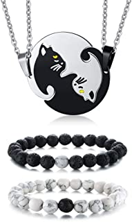 XUANPAI Stainless Steel Matching Puzzle Dog Tag Necklace&His and Hers Yin Yang Distance Beads Bracelet